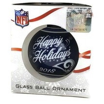 Los Angeles Rams Christmas Ornament NFL Blue Glass Ball Football Dated 2018 - $9.99
