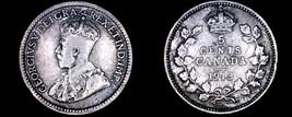 1913 Canada 5 Cent World Silver Coin - Canada - George V - $8.99