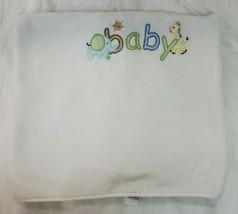 Just Born Baby Blanket White Embroidered BABY Giraffe Elephant Plush B76 - $19.99