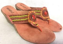 Vaneli Van Eli Wedge Suede Beaded Thong Sandal Flip Flop Orange Yellow s... - $21.99