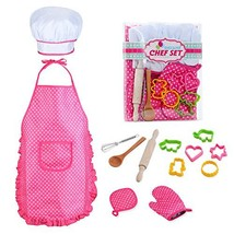 Kids Chef Role Play Costume Set Includes Apron, Chef Hat for Little Girl... - $12.33
