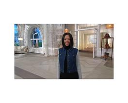 LIZ Claiborne New York Denim Jacket WITH Sweater Knit Sleeves, Women's Size 12 - $28.80