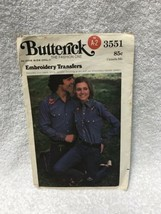 Vintage Butterick # 3551 Embroidery Hot Iron Transfers In One Size Only - $8.90