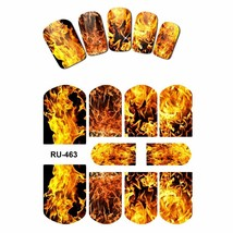 Art Nail Water Sticker Decal Full Cover Red Blue Sweet Hearts Fire Flame... - $3.91+