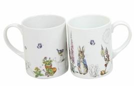 2 x Beatrix Potter Peter il Coniglio Grigio Blu Porcellana Bianca Tazze - $27.14