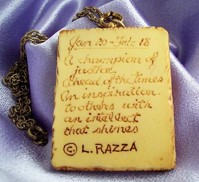 Vintage Luke RAZZA AQUARIUS Pendent Chain Necklace ZODIAC Sign Estate Birthday