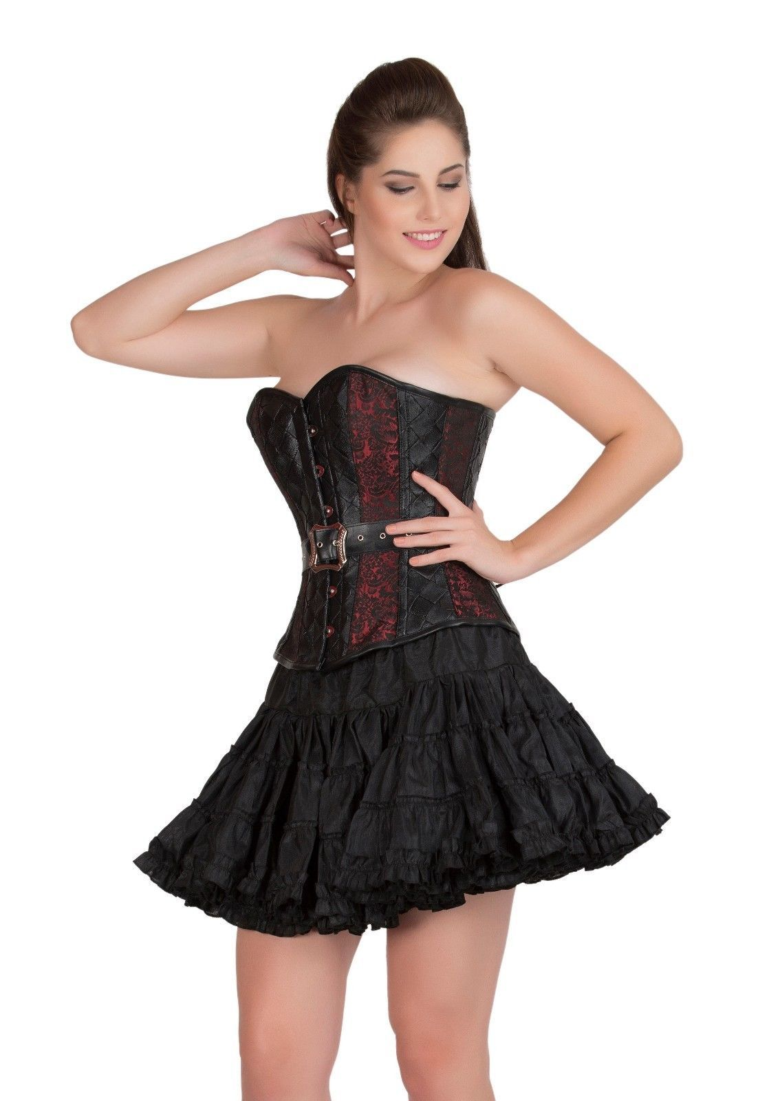 Red Black Brocade & Leather Gothic Waist Training Bustier Overbust Corset Top
