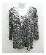 Charming Charlie Womens Small Knit Blouse Black White Lace Trim 3/4 Slee... - $11.99