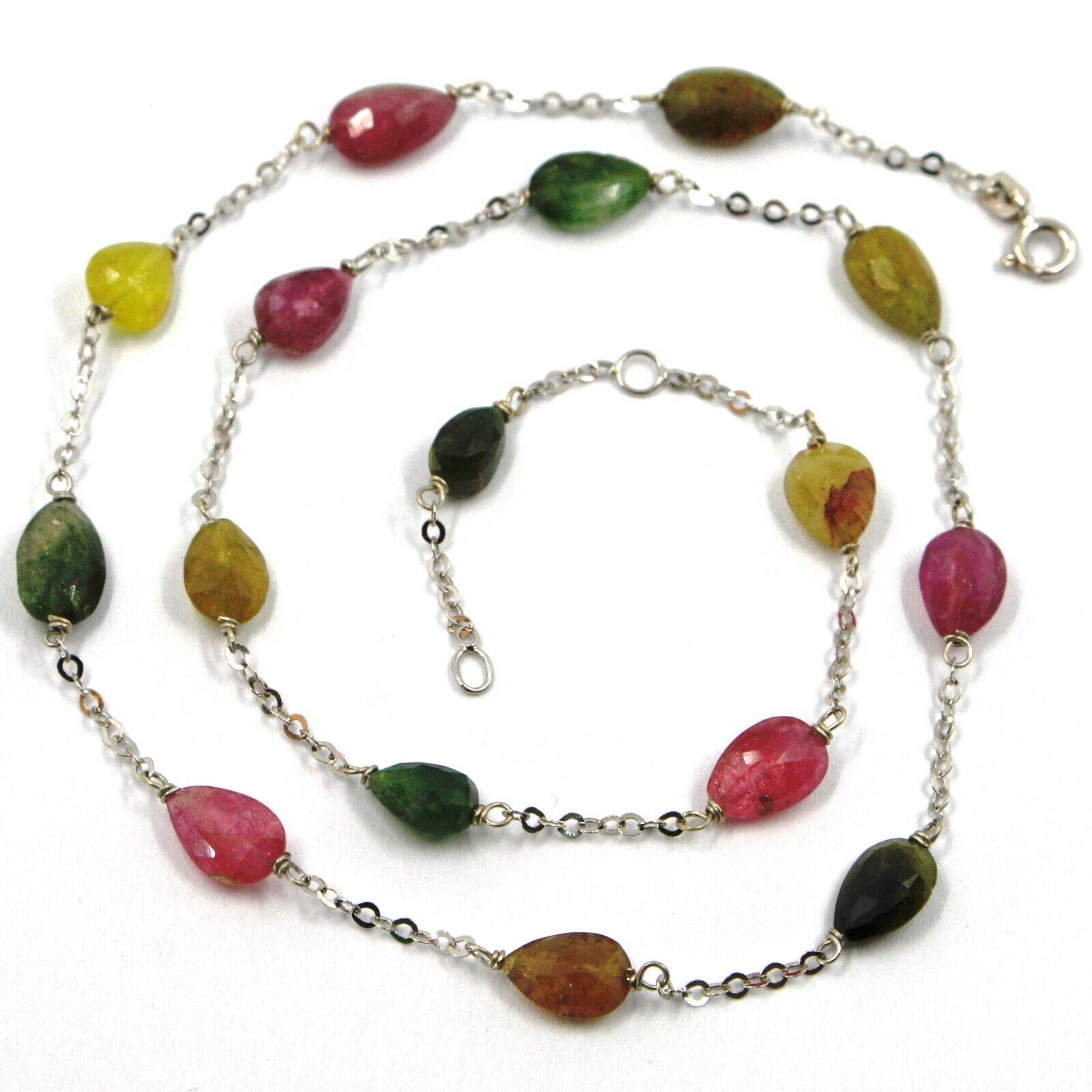 18K WHITE GOLD NECKLACE, PURPLE GREEN YELLOW DROP TOURMALINE, ROLO CHAIN