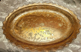 Vintage Carnival Glass Amber Marigold Iridescent Oval Dish Scalloped Rim