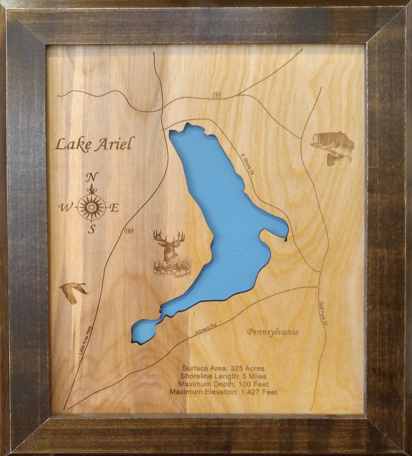 Wood laser cut map of lake ariel and 21 similar items wood laser cut map of lake ariel pennsylvania topographical engraved map gumiabroncs Images