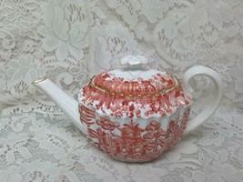 Antique, Spode-Copeland England, Variant Orange Red- Blue Willow 2pc Demi Teapot - $142.45