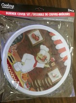 """Set of 2 STEEL STOVETOP BURNER COVERS, FAT CHEF w/ TRAY (1 big 10"""", 1 sm... - $9.89"""