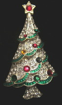 ** NEW MULTI TIERED RHINESTONE CHRISTMAS TREE BROOCH PIN - $29.99