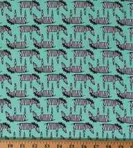 Cotton Zebras African Animals Wildife Zig Zag Zebra Fabric Print BTY D58... - $11.95