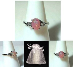 NEW #732 Ring Size 7.5 Simulated Diamond Pink Fire Opal - $19.99