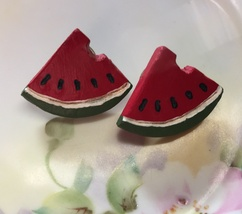"Vintage Handmade Artsy Painted Wooden Watermelon Slices Stud Pierced Earrings 1"" image 2"