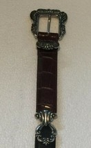 Brighton Brown Black LEATHER BELT Silver Accents Buckle 24109 Size Mediu... - $13.49