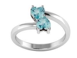 Blue Topaz Gemstone Open Wrap Love Double Heart Ring 925 Sterling Silver - $19.04