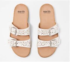 Earth Perforated Leather Slide Sandals-Sand Antigua, White, US 10 Wide, ... - $50.62