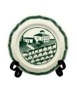 """WILLIAMS-SONOMA Marketplace Salad Plate Green Farm Scene Portugal 8"""" Round - $9.89"""