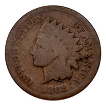 1868 Indian Head Cent 1C Penny (Good, G Condition) Full Complete Rims - $49.49