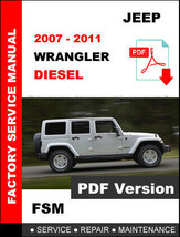JEEP WRANGLER DIESEL 2007 -  2011 FACTORY SERVICE REPAIR OEM WORKSHOP MA... - $14.95