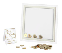 White Guest Book Alternative Signing Frame with 48 Gold Hearts wedding g... - $40.54