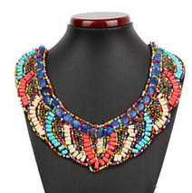 Vintage Beaded Collar Bijoux cotton Bib Colorful wooden Lace - $25.99