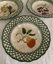 Raymond Waites Cornucopia Fruit Lattice ~ Fruits ~ Soup Bowls Set of 3 image 4