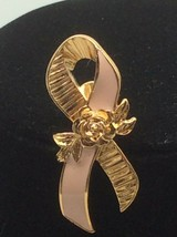 Breast Cancer Pink Awareness Rose Ribbon Enamel Gold Tone Pin Avon - $8.50
