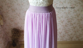 2020 FULL Long Tulle Skirt Plus Size Tulle Skirt Elastic Waist Lilac Tulle Skirt image 4