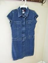 "Tommy Hilfiger girls size 12 Zip down front Blue denim jean dress 29"" Lo... - $16.62"