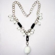 Collier Argent 925, Onyx Noir , Agate Blanc Goutte, Chute Pendentif image 3