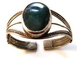 Vintage Tribal Sterling Silver Blue Green Agate Cuff Bracelet - $123.74