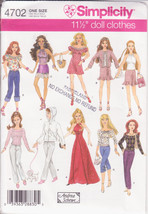 Simplicity 4702 Fashion Dolls Clothes 11 1/2 inches doll Blouses Skirt, Pant - $10.00