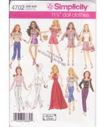 Simplicity 4702 Fashion Dolls Clothes 11 1/2 inches doll Blouses Skirt, ... - $10.00