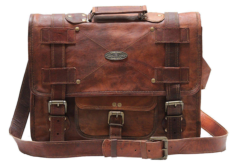 Men's Leather Messenger Shoulder Briefcase Bag For Business Work Office Use