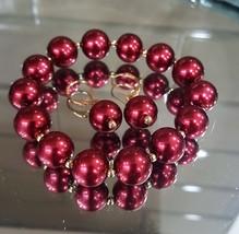 Vintage Red Faux Pearl Bracelet Earrings Set Gold Plated - $9.50