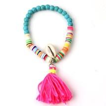 Bohemia Style Beach Sea Shell Bracelets Polymer Clay CCB Elastic Bead Ta... - $9.06