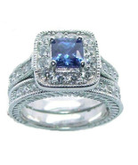Women's Halo Sapphire Blue Cz Sterling Silver Wedding Ring Set - $49.99