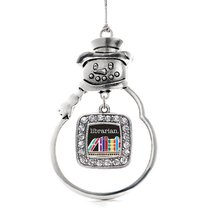 Inspired Silver Librarian Classic Snowman Holiday Christmas Tree Ornament With C - $14.69