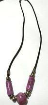 Black 2mm Leather Cord Purple Floral Ceramic Bead  Necklace 16.5 Inches - $9.40