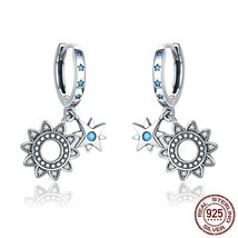 Vintage 925 Sterling Silver Sunflower Sparkling Geometric Star Drop Earr... - $25.99