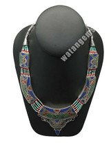 Ethnic Tribal Lapis, Turquoise & Red Coral Inlay Boho Statement Necklace... - $32.73
