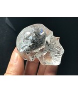 Clear  Natural Quartz Crystal Rainbow Skull Carved Realistic Healing  L0... - $48.46