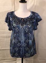Dress Barn Top, Size Small, Blue, Polyester, Short Sleeve - $17.99