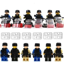 Military Army 6 Soldier With Weapon Shield Fit Lego Minifigure Gift Chri... - $14.99