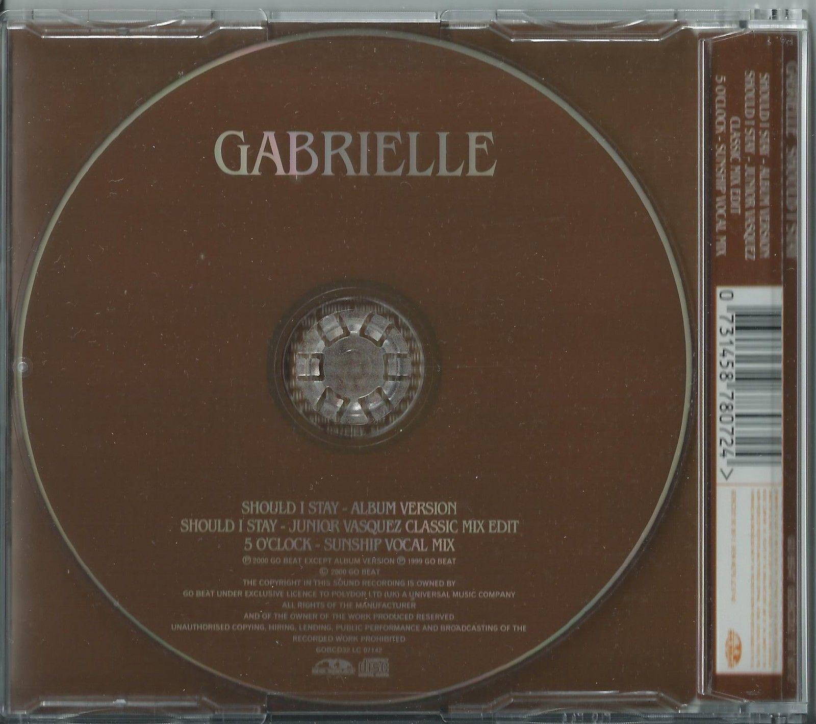 GABRIELLE - SHOULD I STAY /(REMIX) / 5 O'CLOCK (REMIX) 2000 UK CD SINGLE GOBCD32