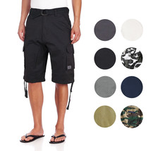 Men's Premium Cotton Twill Slim Fit Cargo Camo Shorts With Woven Belt